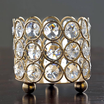 "Bejeweled Blitz Votive Tealight Wedding Crystal Candle Holder - Gold - 3.25"" Dia x 2.75 Tall"