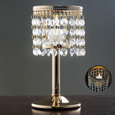 Elegant Metal Votive Tealight Crystal Candle Holder Wedding Centerpiece - Gold - 7.5""