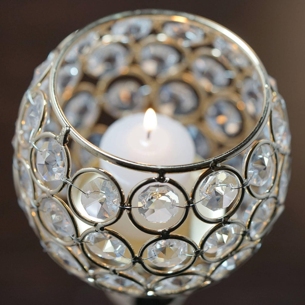 Sleek Pillar Crystal Votive Tealight Candle Holder Wedding