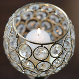 "Sleek Pillar Crystal Votive Tealight Candle Holder Wedding Centerpiece - Gold - 16"" Tall"