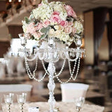 "35"" Tall 4 Arm Stunning Candelabra Candlestick Crystal Candle Holder"