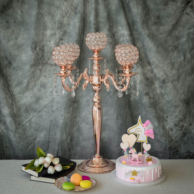 25 inch Tall 5 Arm Blush | Rose Gold Crystal Beaded Globe Metal Candelabra Candle Holder