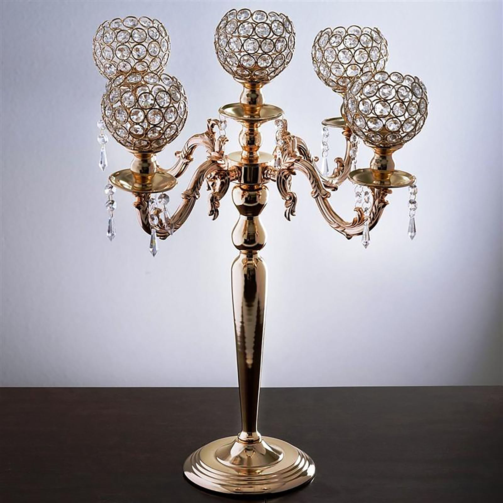 25 tall 5 arm gold crystal beaded globe metal candelabra candle