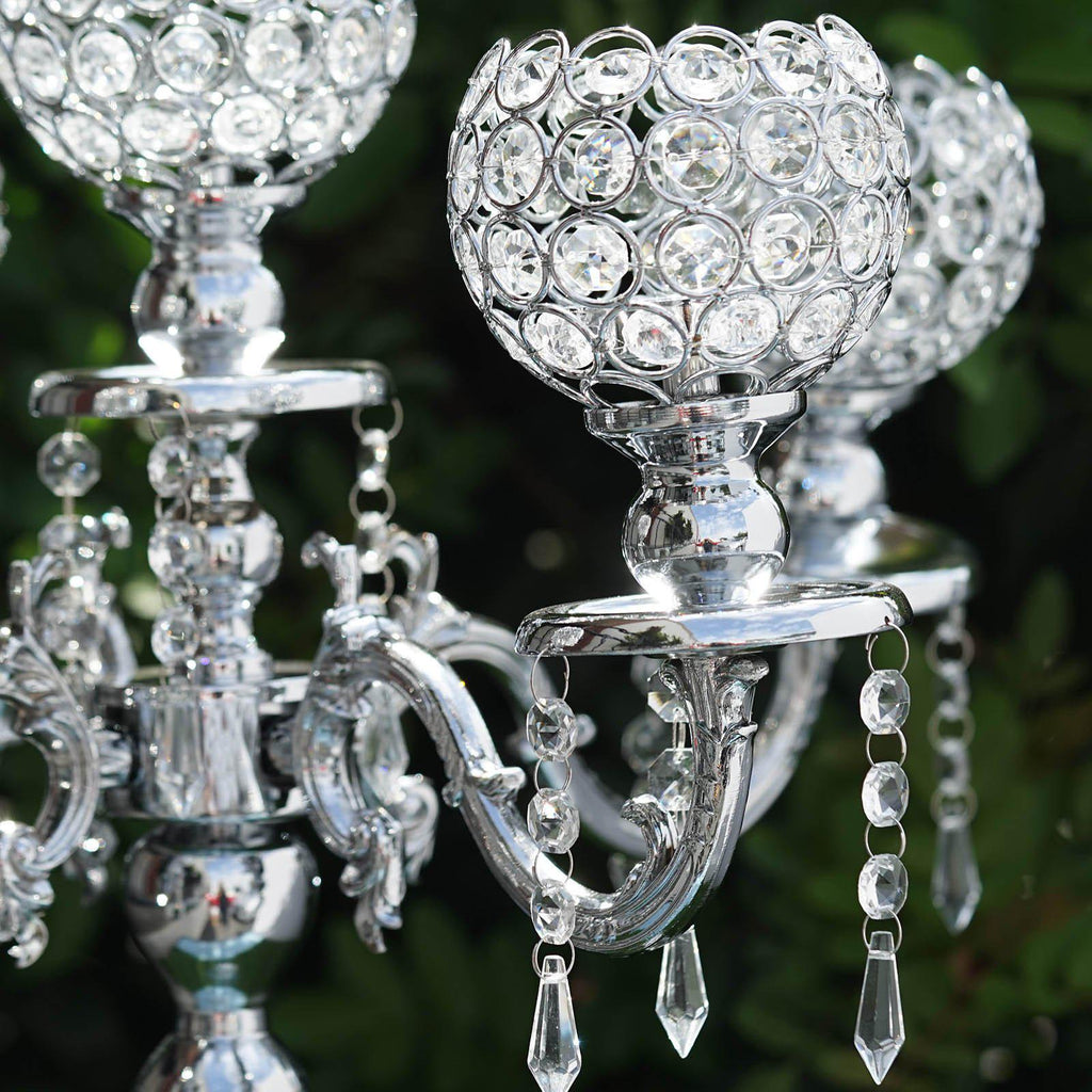 25 Quot Tall 5 Arm Silver Crystal Beaded Globe Metal