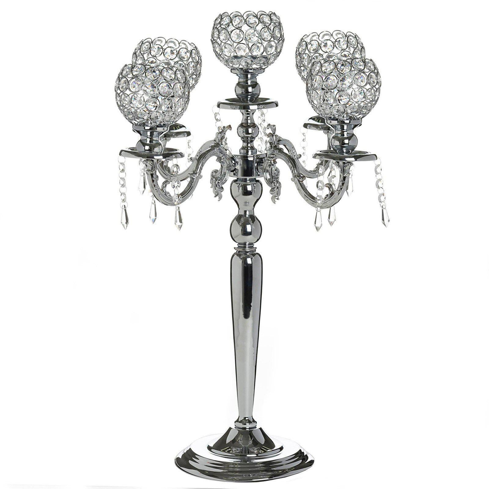 Candelabra chandelier crystal votive candle holder wedding candelabra chandelier crystal votive candle holder wedding centerpiece 25 tall silver aloadofball Image collections