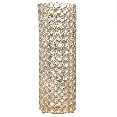 "16"" Tall Gold Fully Beaded Pillar Candle Holder Crystal Candle Stand"