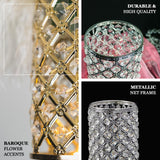 "2 Pack | 9"" Tall Metallic Gold Crystal Beaded Pillar Votive Candle Holder Set"