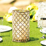 "2 Pack | 9"" Tall Metallic Gold Crystal Beaded Pillar Votive Candle Holder"