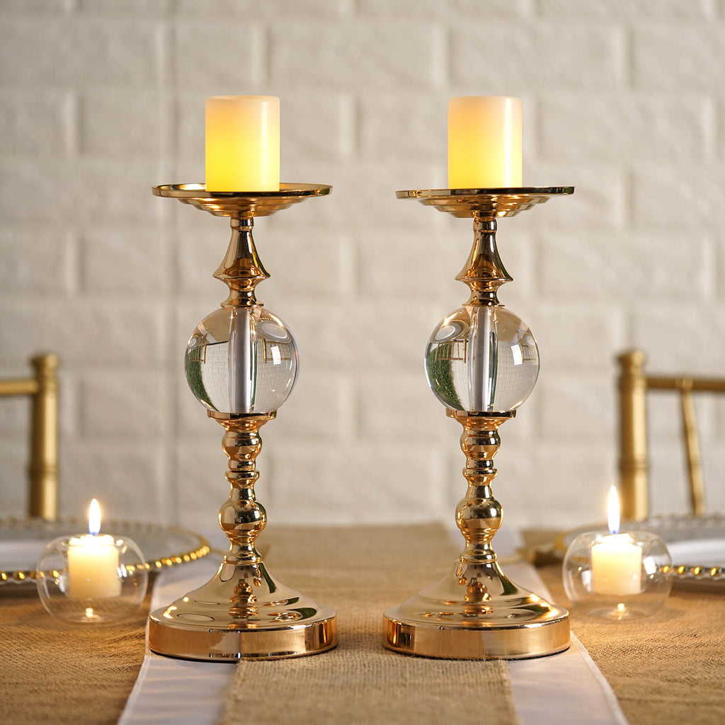 2 Pack 13 Quot Tall Gold Metallic Pillar Candle Holder With
