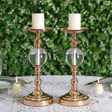 "2 Pack | 13"" Tall Gold Metallic Pillar Candle Holder With Clear Acrylic Ball"