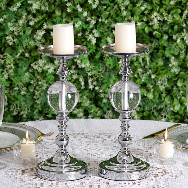 "2 Pack | 13"" Tall Silver Metallic Pillar Candle Holder Set With Clear Acrylic Ball"