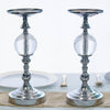 "2 Pack | 13"" Tall Silver Metallic Pillar Candle Holder With Clear Acrylic Ball"
