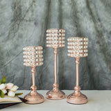 Set of 3 | White Pearl Beaded Blush | Rose Gold Votive Candle Holder - 12"