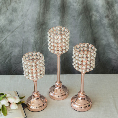 Set of 3 | White Pearl Beaded Rose Gold Votive Candle Holder - 12"