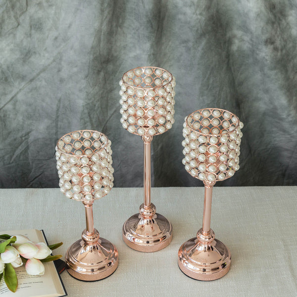 Set of 3 | White Pearl Beaded Blush | Rose Gold Votive Candle Holder Set - 12"