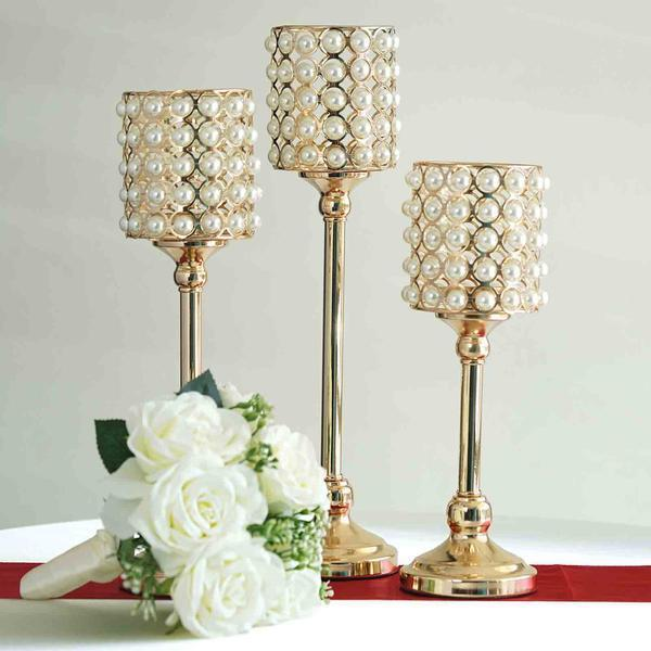 Set of 3 | White Pearl Beaded Gold Votive Candle Holder Set - 12"