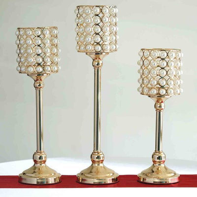 Set of 3 | White Pearl Beaded Gold Votive Candle Holder - 12"