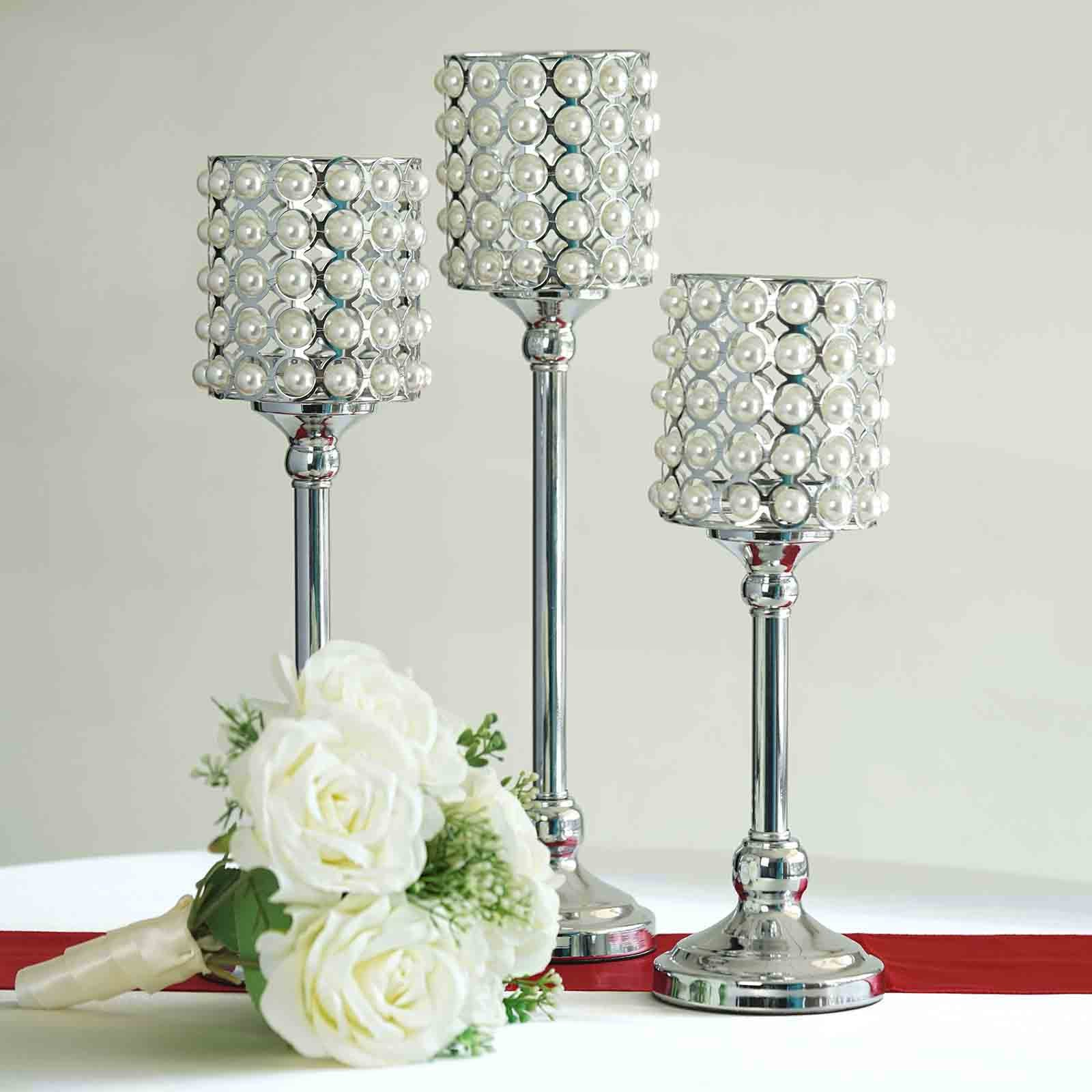 Set of 3 White Pearl Beaded Silver Candle Votive Holder Centerpieces ...