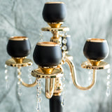 "5 Arms 25"" Matte Black/Gold Metal Tealight Votive Candle Holder Centerpiece Candelabra"