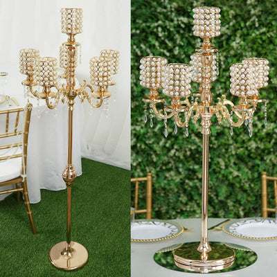 "DIY Dual Use Gold Pearl Beaded Metal Floor Candelabra (56"") & Table Centerpiece (36"") With Crystal Pendants"