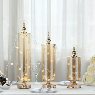 Set of 3 | Gold Metal Hurricane Table Centerpiece Jar With Glass Tube & Metal Top - 14"