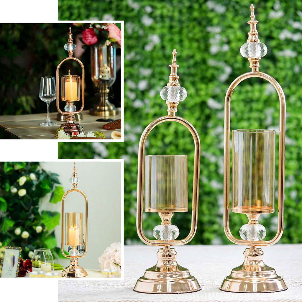 22 Tall Gold Hurricane Votive Metal Candle Holder With Glass Tube And 2 Diamond Crystals Tableclothsfactory