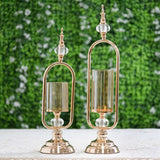 Set of 2 | Gold Hurricane Votive Metal Candle Holder With Glass Tube And 2 Diamond Crystals - 19"