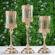 Set of 3 | Lace Design Gold Amber Hurricane Glass Candle Holder With Glass Tube - 13"