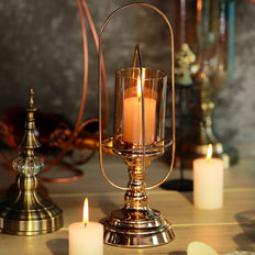 "17"" Gold Metal Coiled Design Glass Hurricane Candle Holder"