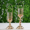 Set of 2 | Gold Metal Coiled Design Glass Hurricane Candle Holder - 15"