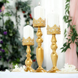 "Set of 3 | Lace Design Gold Amber Hurricane Glass Candle Holder With Glass Tube - 12""/14""/17"""