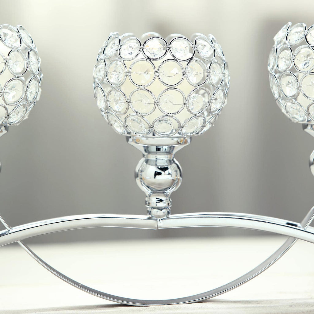 3 Arms Crystal Votive Candelabra Candle Holders Dining Table Decor Silver