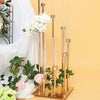 8 Arm Glass Cylinder Gold Metal Candelabra, Glass  Candle Holders, Metal Candle Holders