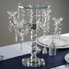 "15"" Tall 4 Arm Gemcut Glass Candelabra Candle Holder With Crystal Chains"