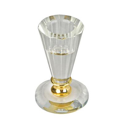 "3"" Tall Gemcut Glass Crystal Votive Candlestick Holder With Gold Metal Stem"