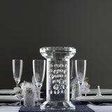 "11"" Gemcut Premium Glass Crystal Pillar Vase Candle Holder With 11 Crystal Chains"