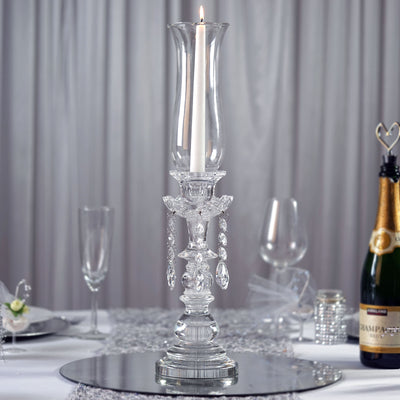 "20"" Tall PREMIUM Hurricane Taper Crystal Glass Candle Holder"