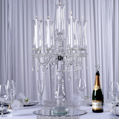"32"" Tall 5 Arm PREMIUM Hurricane Taper Crystal Glass Candle Holder"