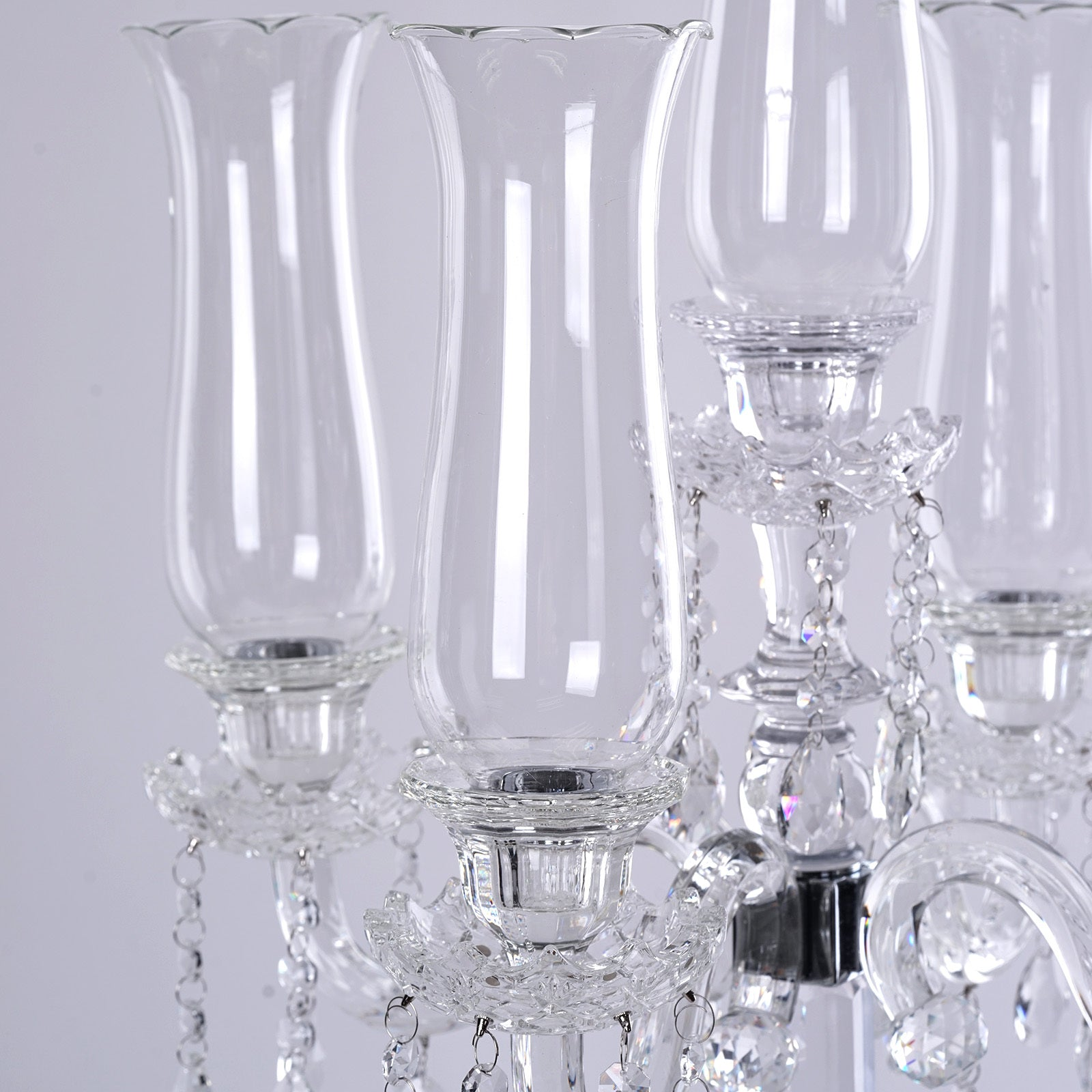 32 tall 5 arm premium hurricane taper crystal glass candle holder