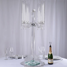 "36"" Tall 4 Arm PREMIUM Crystal Glass Candle Holder"