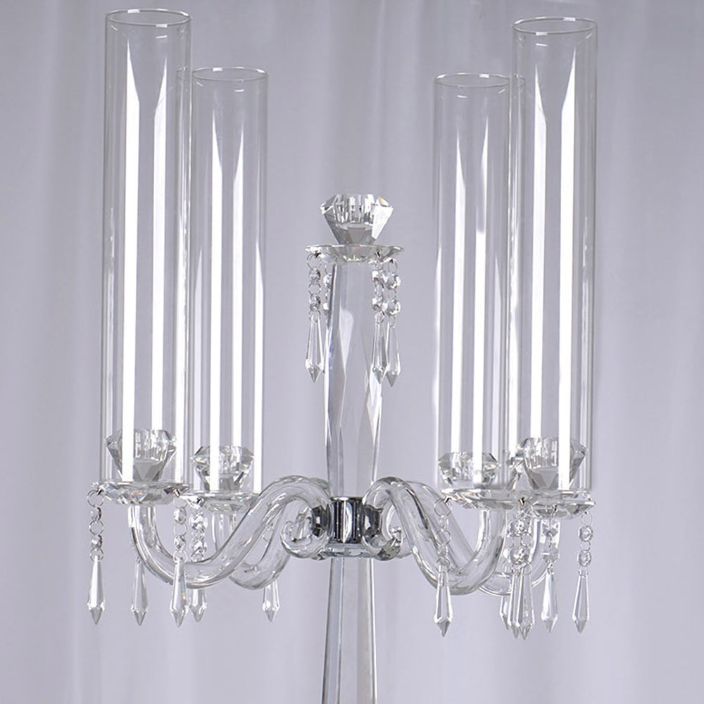 35 5 Tall Handcrafted 4 Arm Crystal Glass Tabletop Candelabra Baroque Taper Votive Candle Holder Centerpieces