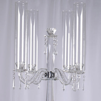 "35.5"" Tall Handcrafted 4 Arm Crystal Glass Tabletop Candelabra Baroque Taper Votive Candle Holder Centerpieces - PREMIUM Collection"
