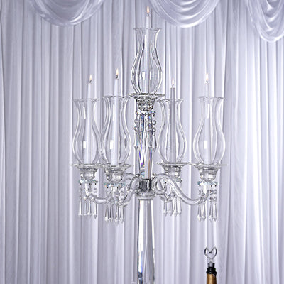 "40"" Tall 5 Arm PREMIUM Hurricane Taper Crystal Glass Candle Holder"