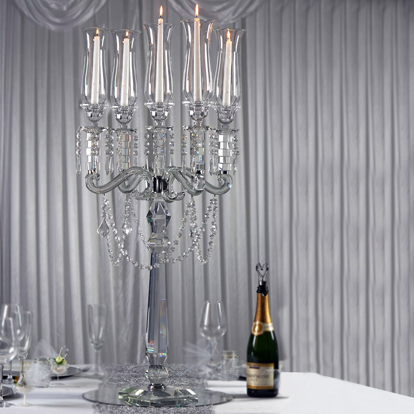 39 Tall 5 Arm Premium Hurricane Taper Crystal Glass Candle Holder Tableclothsfactory