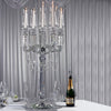 "39"" Tall 5 Arm PREMIUM Hurricane Taper Crystal Glass Candle Holder"