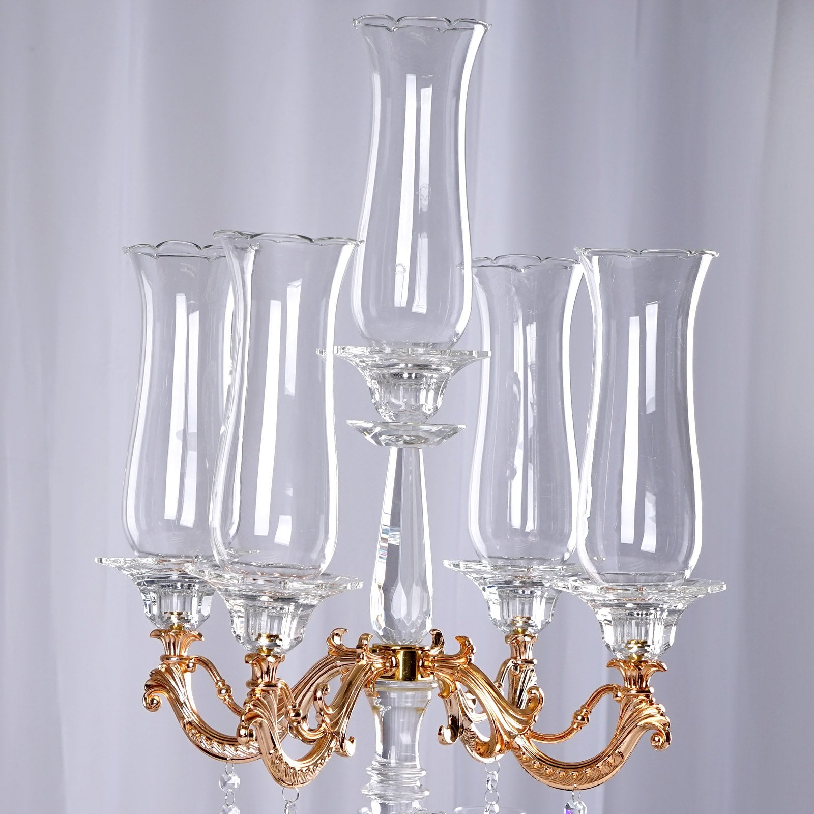 "31"" Tall Handcrafted 5 Gold Arm Crystal Glass Table Top Candelabra"