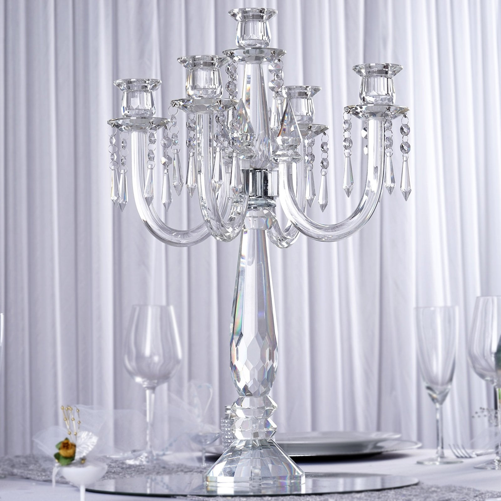 "22"" Tall Handcrafted 5 Arm Crystal Glass Tabletop Candelabra"