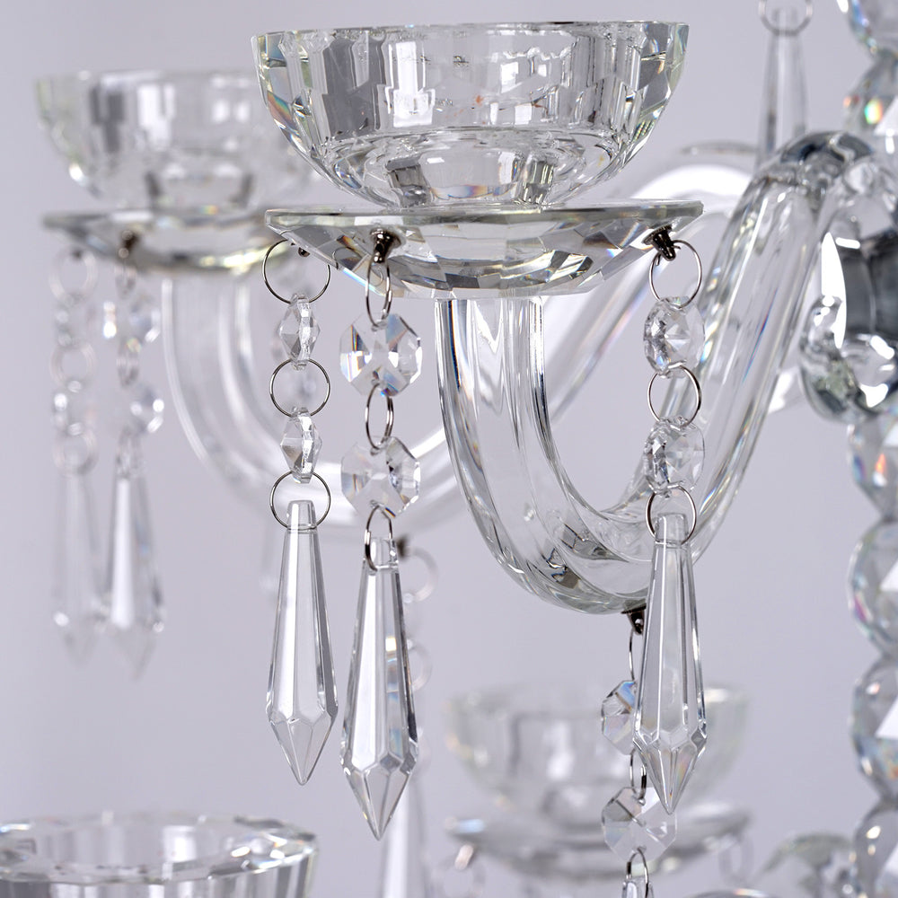 35 Tall Handcrafted 8 Arm 3 Tier Crystal Tabletop Candelabra Taper Pillar Chandelier Candle Holder