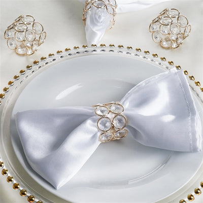 Bling Glass Crystal Gem Napkin Rings - Gold - 4PCS