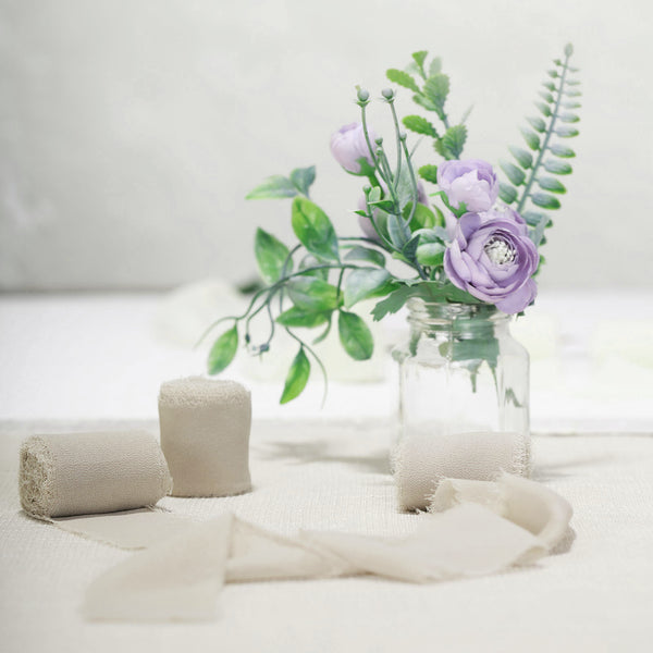 "1.5"" x 6Yard - Set of 2 Natural Chiffon Ribbon Rolls For Bouquets, Wedding Invitations & Gift Wrapping"